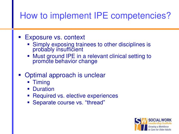 How to implement IPE competencies?