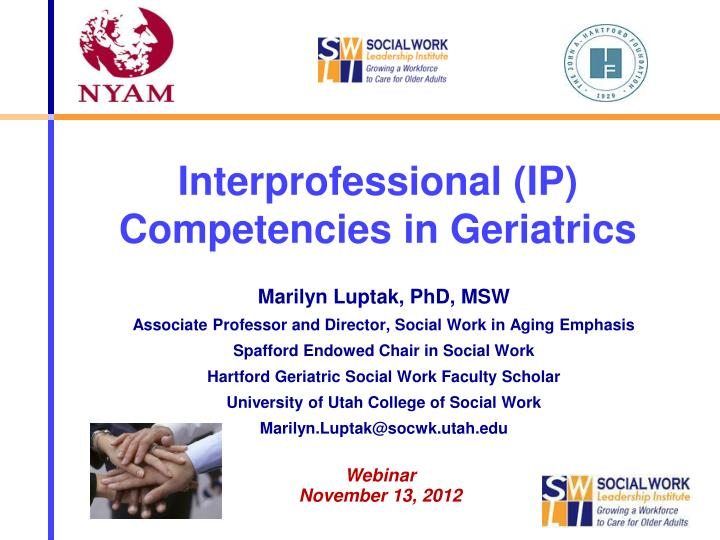 Interprofessional ip competencies in geriatrics