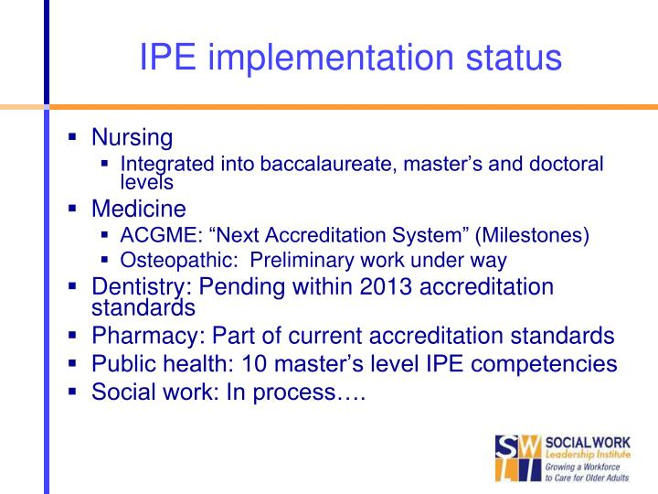 IPE implementation status