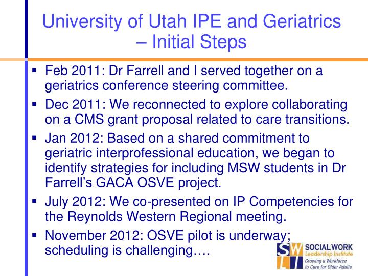 University of Utah IPE and Geriatrics – Initial Steps