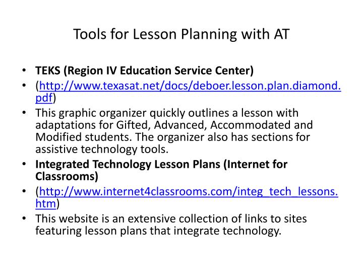 Tools for Lesson Planning with AT