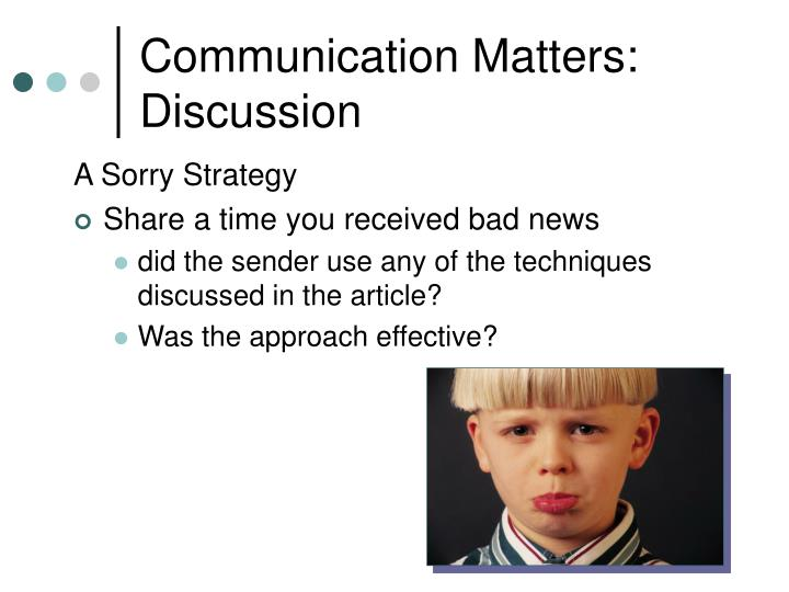 Communication Matters: Discussion