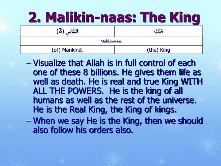 2. Malikin-naas: The King of Mankind