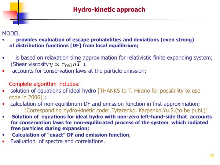 Hydro-kinetic approach