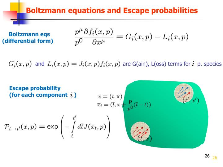 Boltzmann equations and Escape probabilities
