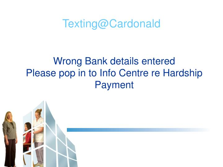 Wrong Bank details entered