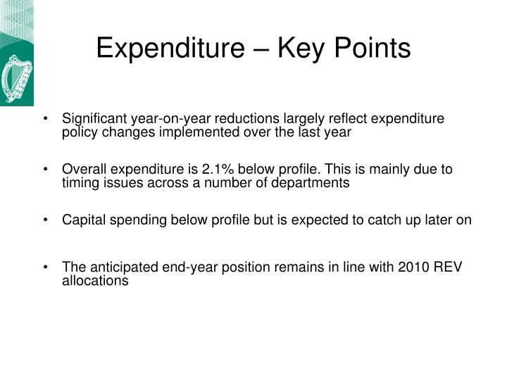 Expenditure – Key Points