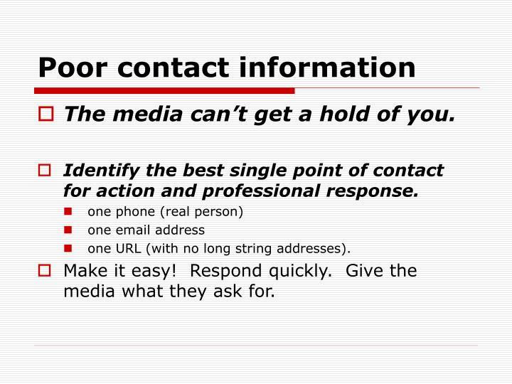 Poor contact information