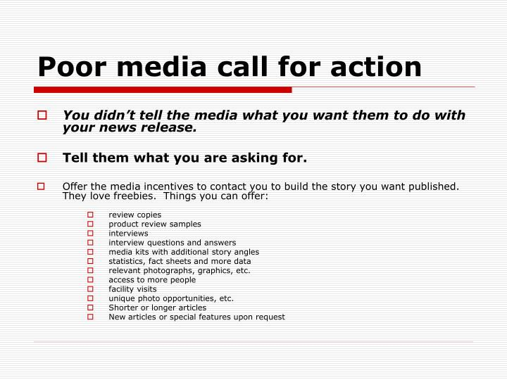 Poor media call for action