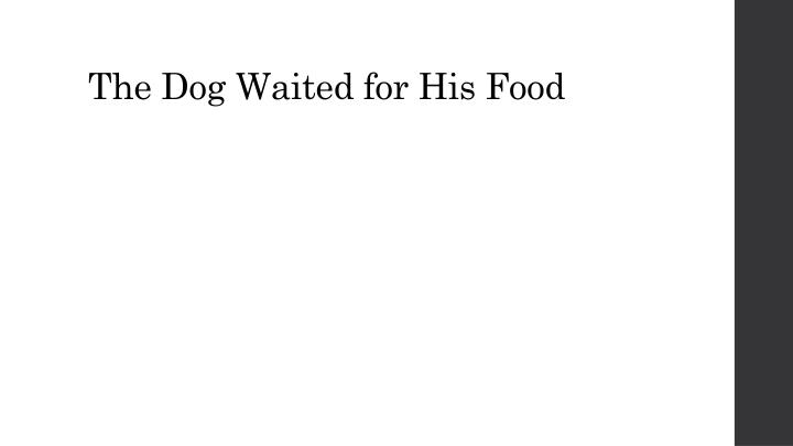 The Dog Waited for His Food