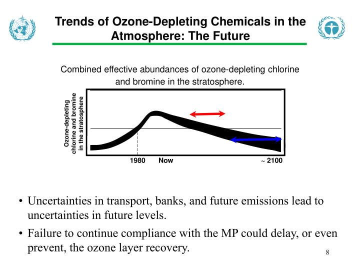 Ozone-depleting chlorine and bromine in the stratosphere