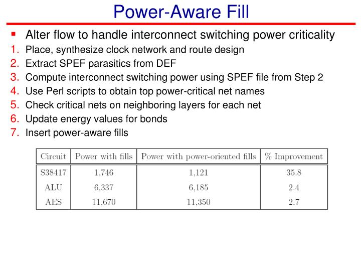Power-Aware Fill