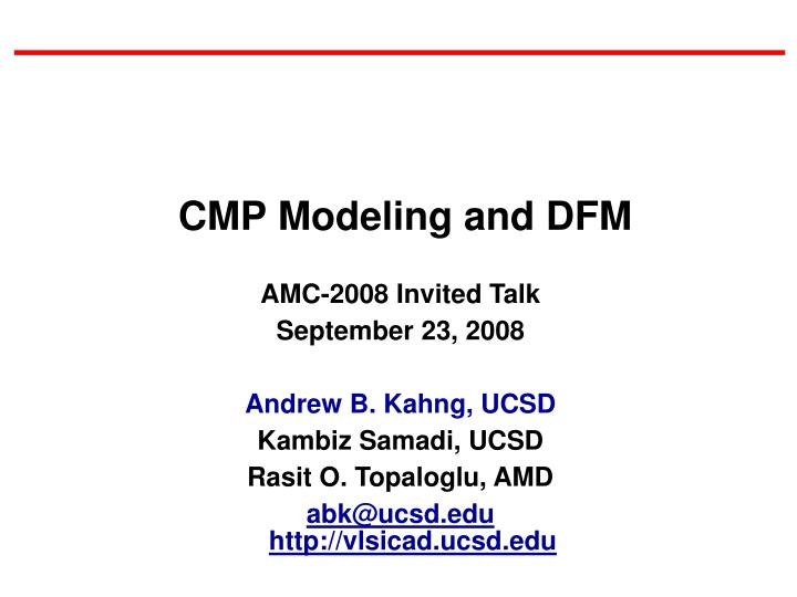 CMP Modeling and DFM