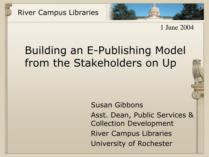 Building an e publishing model from the stakeholders on up