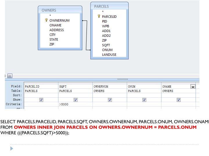 SELECT PARCELS.PARCELID, PARCELS.SQFT, OWNERS.OWNERNUM, PARCELS.ONUM, OWNERS.ONAME