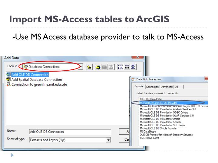 Import MS-Access tables to ArcGIS