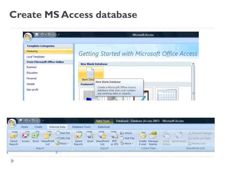 Create MS Access database