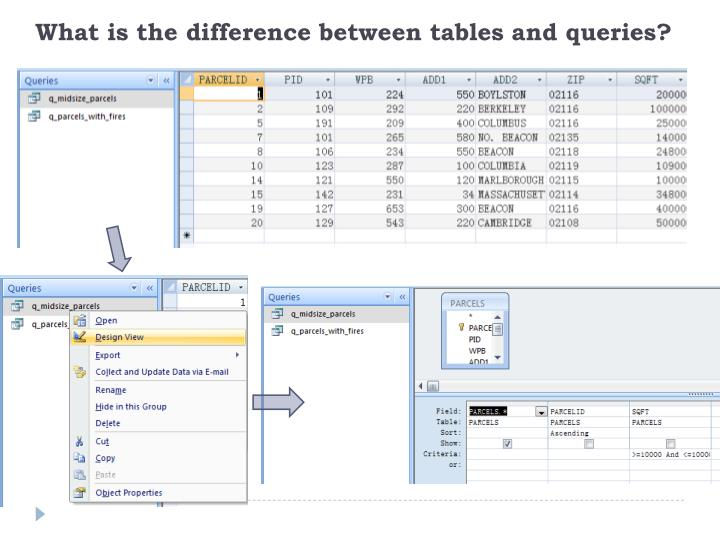 What is the difference between tables and queries?