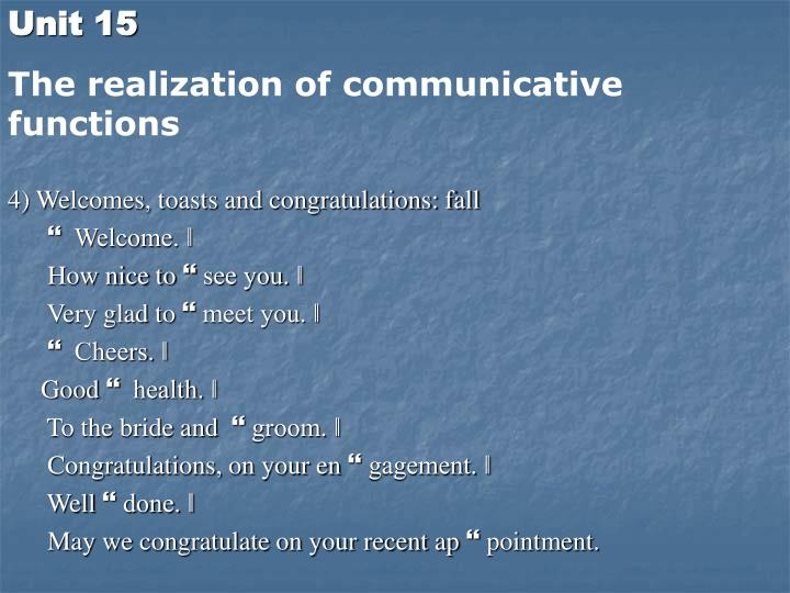4) Welcomes, toasts and congratulations: fall