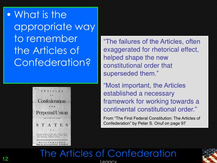 successes and failures of the articles of confederation The articles of confederation was the new nation's founding document,  the articles of confederation and the northwest ordinance  successes & failures.