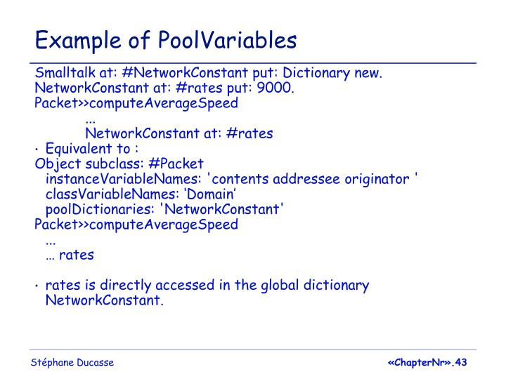 Example of PoolVariables