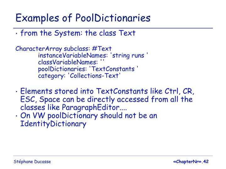 Examples of PoolDictionaries