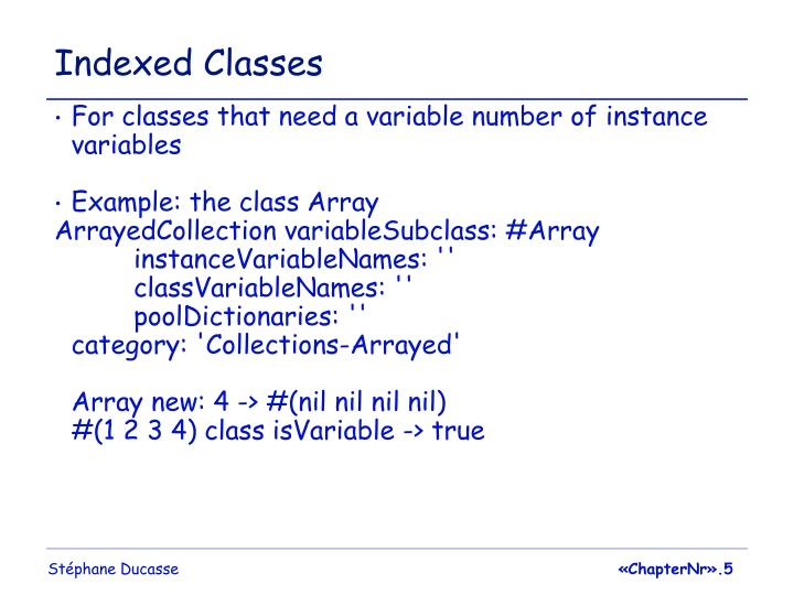 Indexed Classes