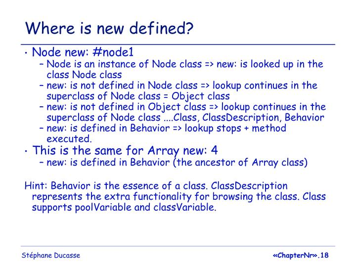 Where is new defined?
