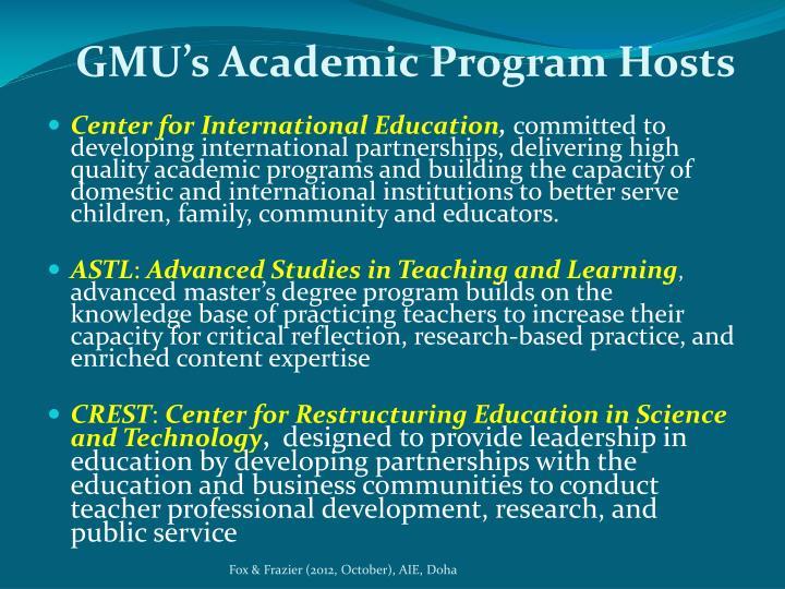 GMU's Academic Program Hosts