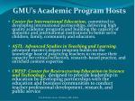 gmu s academic program hosts