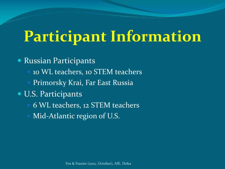 Participant Information