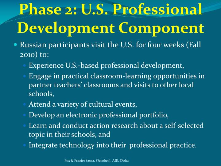 Phase 2: U.S. Professional Development Component