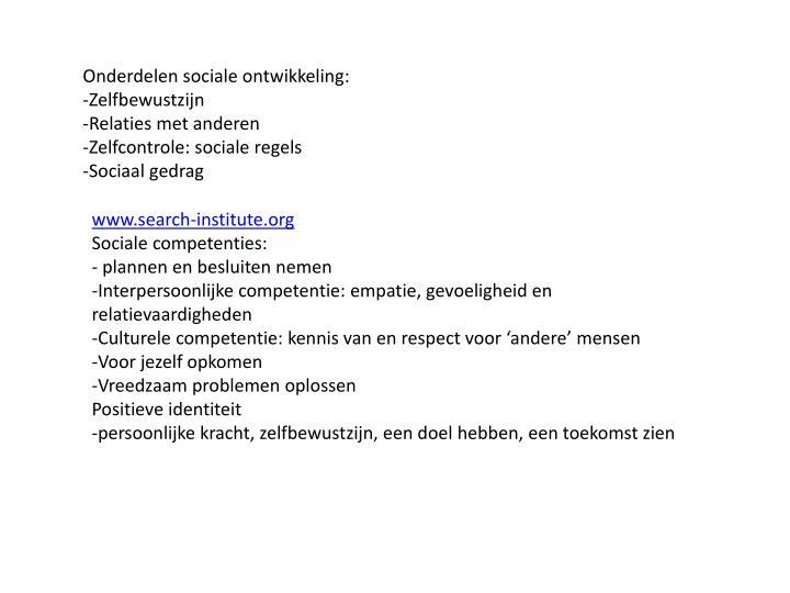 Onderdelen sociale ontwikkeling: