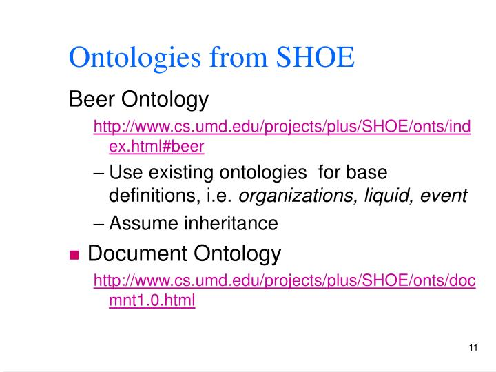 Ontologies from SHOE