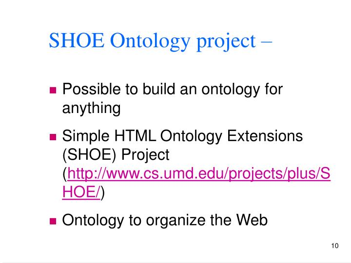 SHOE Ontology project –