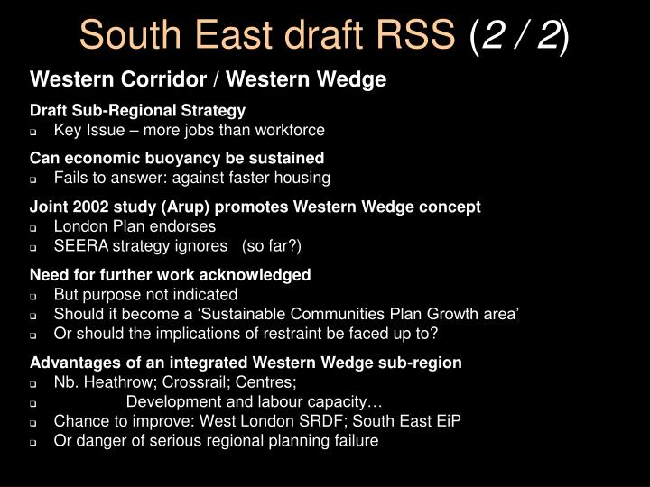 South East draft RSS
