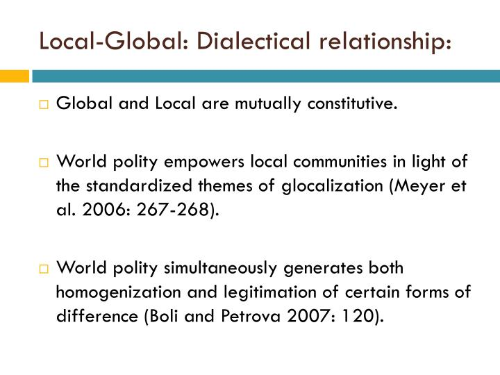 Local-Global: Dialectical relationship: