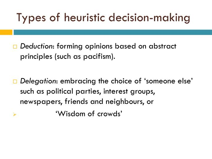 Types of heuristic decision-making