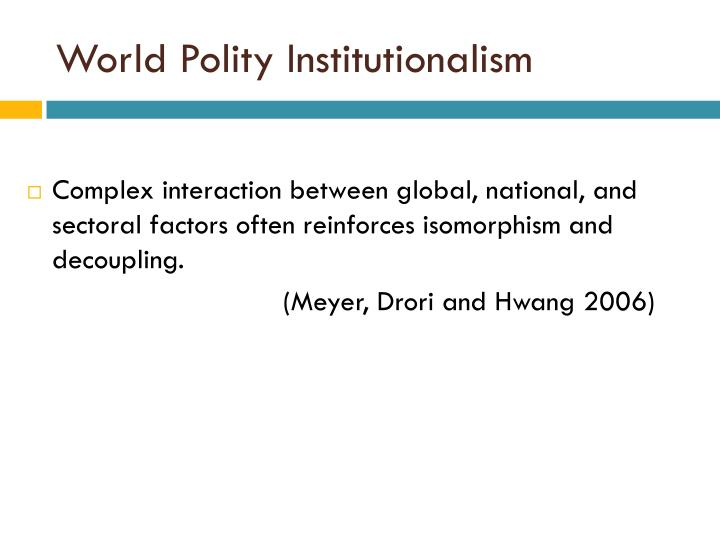 World Polity Institutionalism