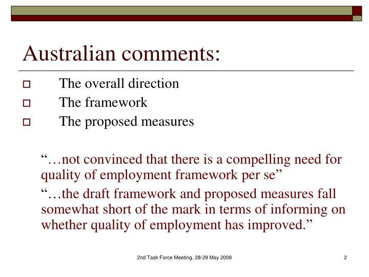 Australian comments