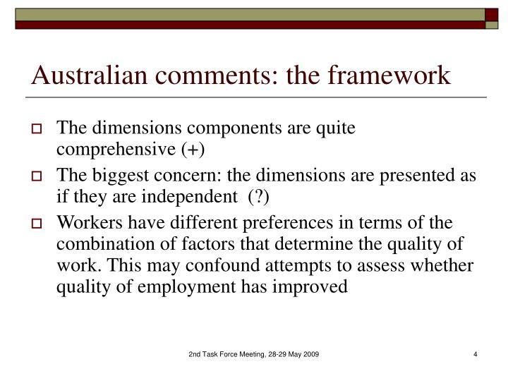 Australian comments: the framework