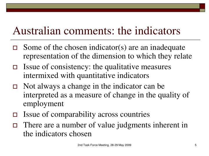 Australian comments: the indicators