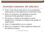 australian comments the indicators