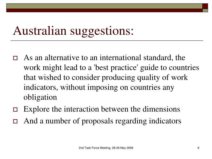 Australian suggestions: