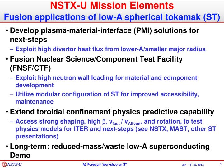 NSTX-U Mission Elements