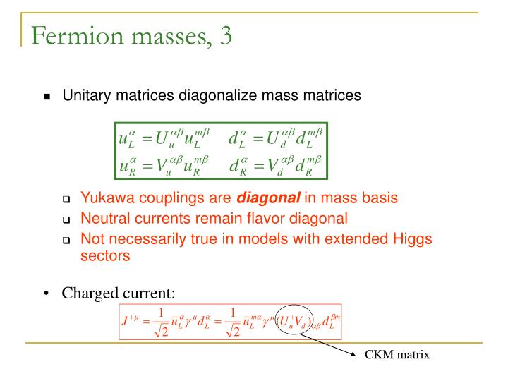 Fermion masses, 3