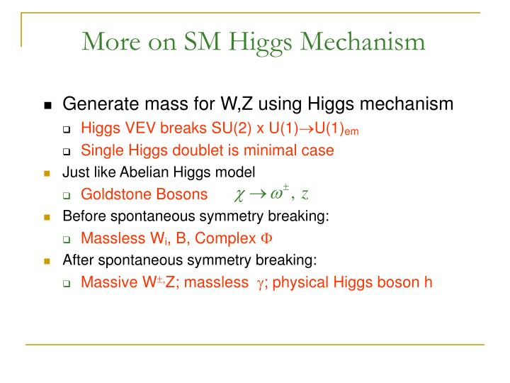More on SM Higgs Mechanism