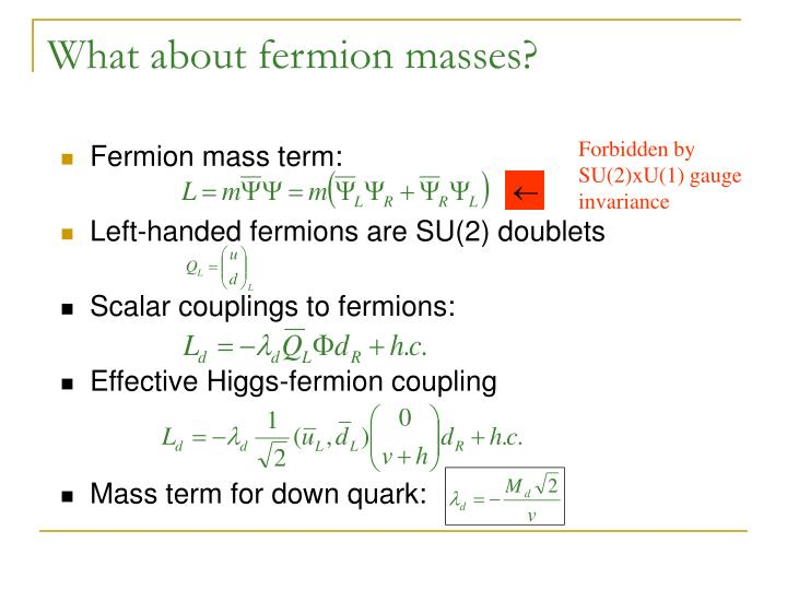 What about fermion masses?