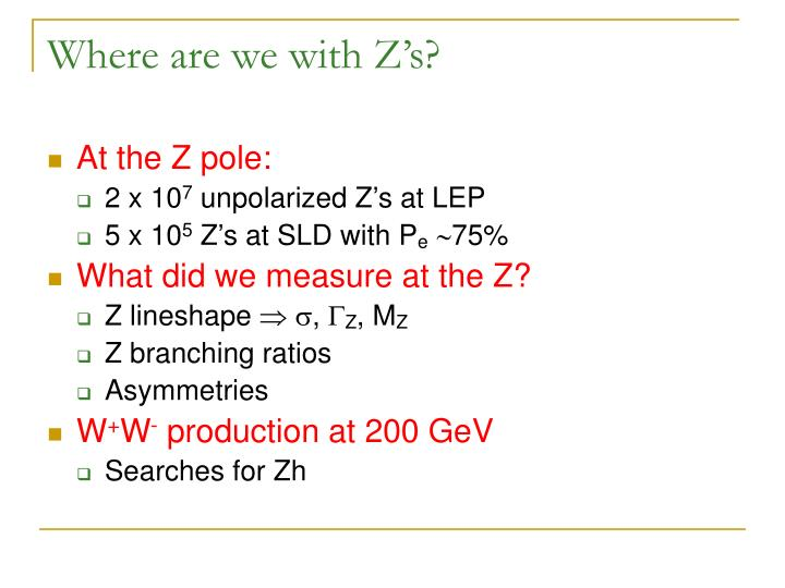 Where are we with Z's?