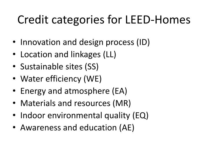 Credit categories for LEED-Homes